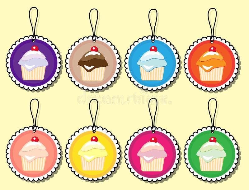 杯形蛋糕礼品标签 皇族释放例证