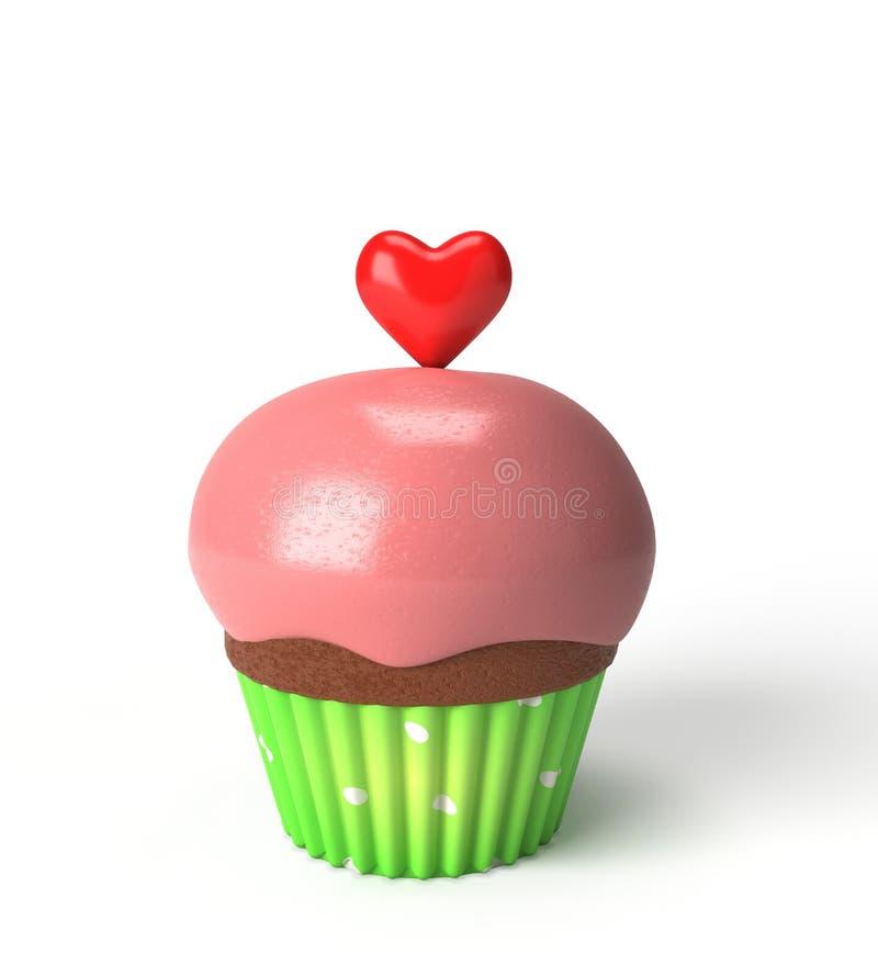杯形蛋糕红色心脏 免版税库存照片