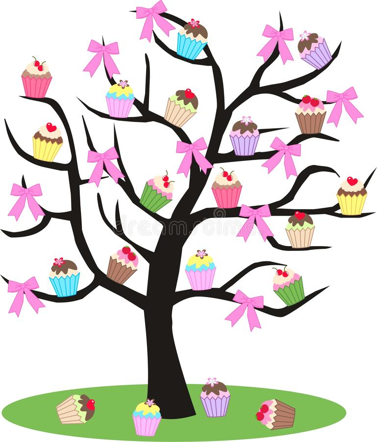 杯形蛋糕结构树 库存例证