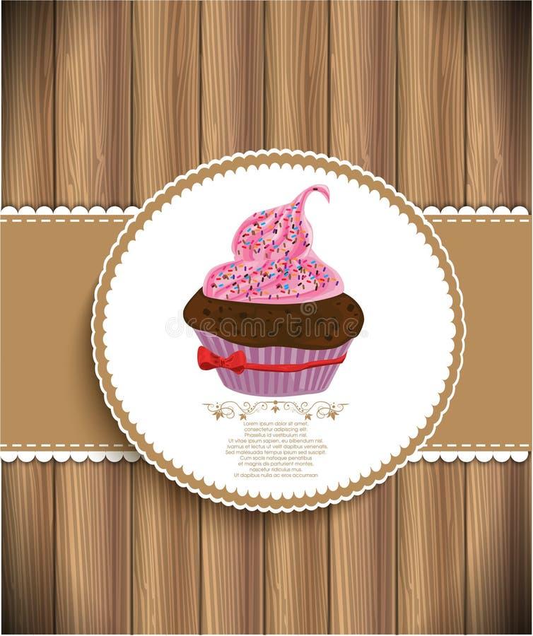 杯形蛋糕背景 向量例证