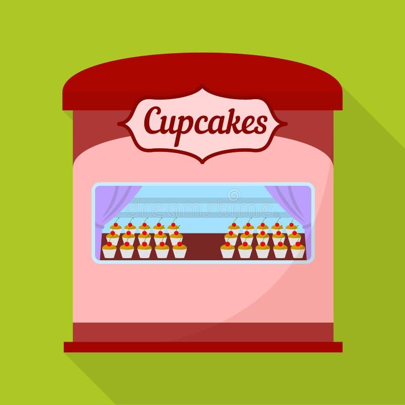 杯形蛋糕街道商店象,平的样式 皇族释放例证