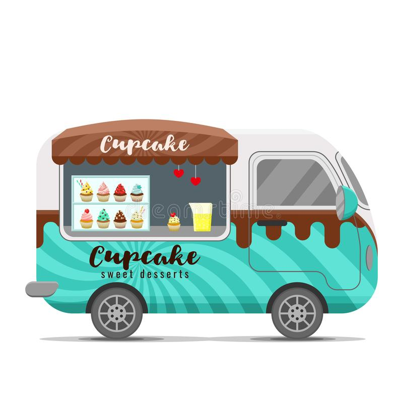 杯形蛋糕街道食物传染媒介有蓬卡车拖车 皇族释放例证