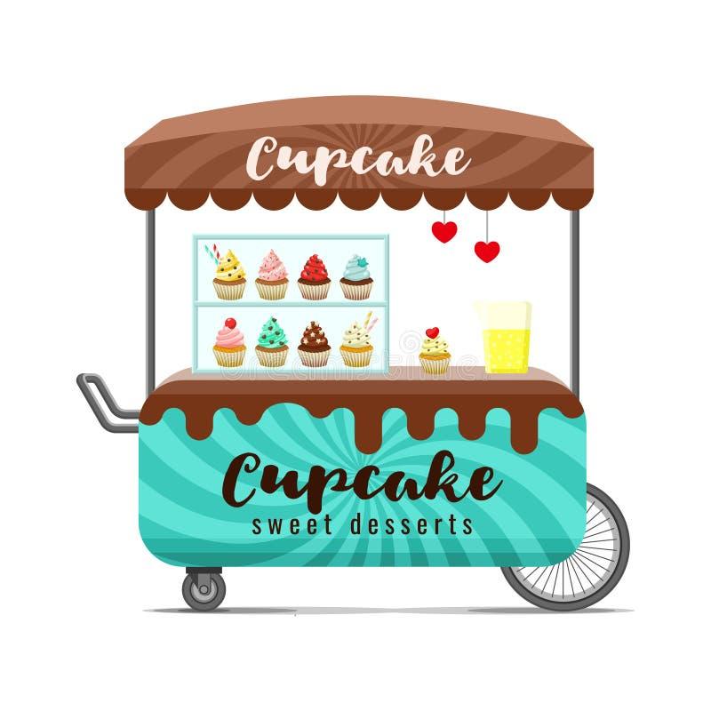杯形蛋糕街道食物推车 五颜六色的传染媒介图象 皇族释放例证