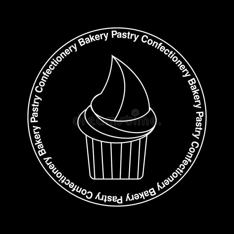 杯形蛋糕象征,在黑,稀薄的线desighn的商标白色 皇族释放例证