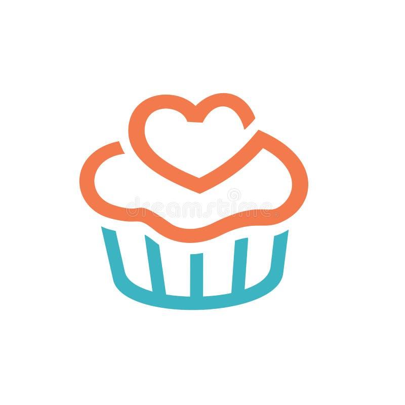 杯形蛋糕象,商标元素 干净和简单的象商标模板,适用于面包店事务,咖啡馆,餐馆,演播室,队, 皇族释放例证