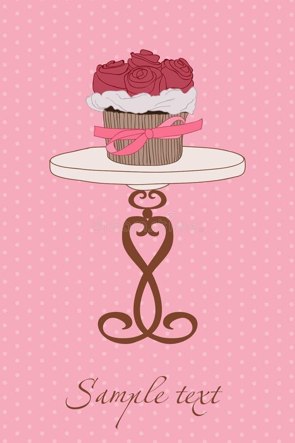 杯形蛋糕邀请婚礼 库存例证