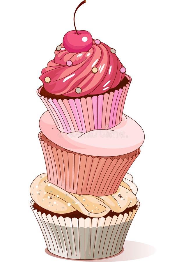 杯形蛋糕金字塔  皇族释放例证