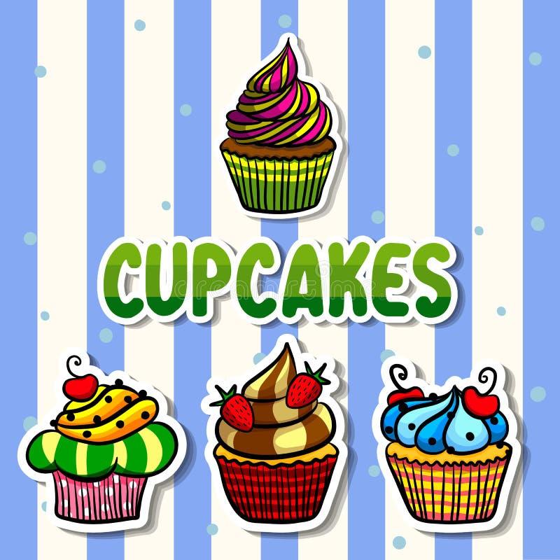 杯形蛋糕集合例证 图库摄影