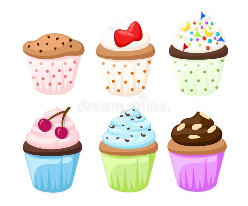 杯形蛋糕集合被隔绝的蛋糕collectin甜点糖果 库存例证