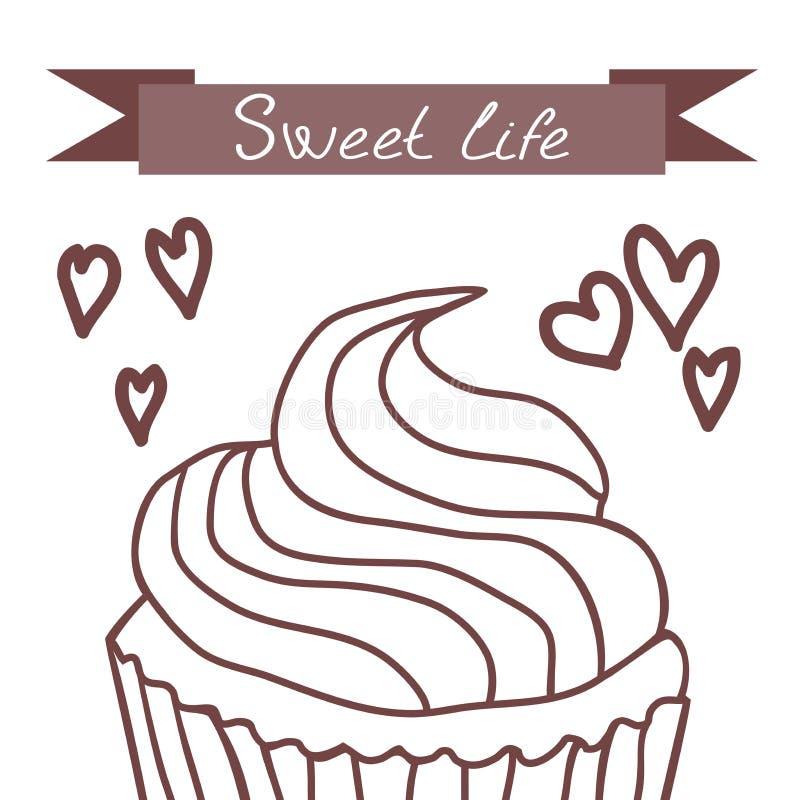 杯形蛋糕,甜生活 免版税库存图片
