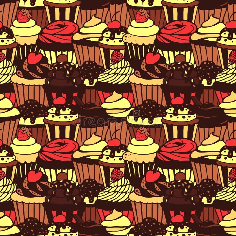 杯形蛋糕仿造无缝的甜点 向量例证