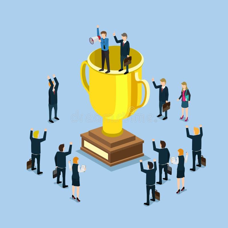 杯战利品成功的优胜者平的3d企业成功概念 向量例证