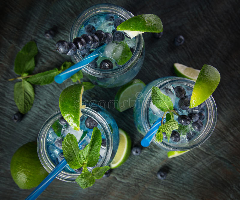 杯新鲜,自创新鲜的蓝莓汁 免版税库存图片