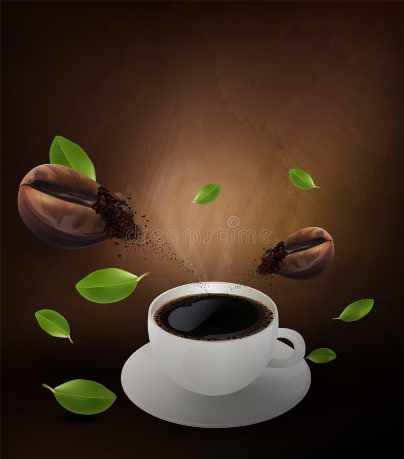 杯无奶咖啡和咖啡豆在棕色背景,流动的咖啡小册子和拷贝空间文本的 传染媒介和例证 库存例证