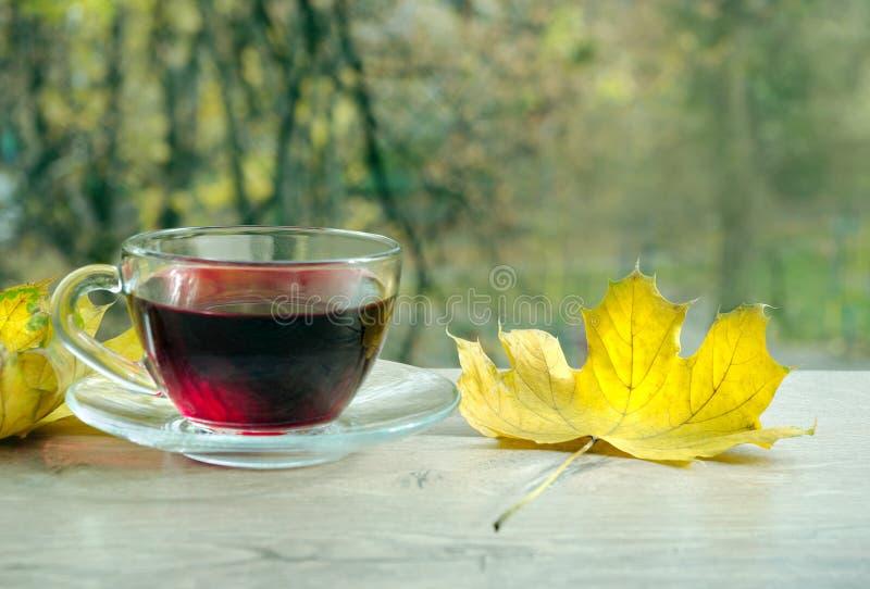 杯木槿茶和在一张木桌上的黄色叶子 杯用在木桌上的热的木槿茶在秋天背景 库存图片