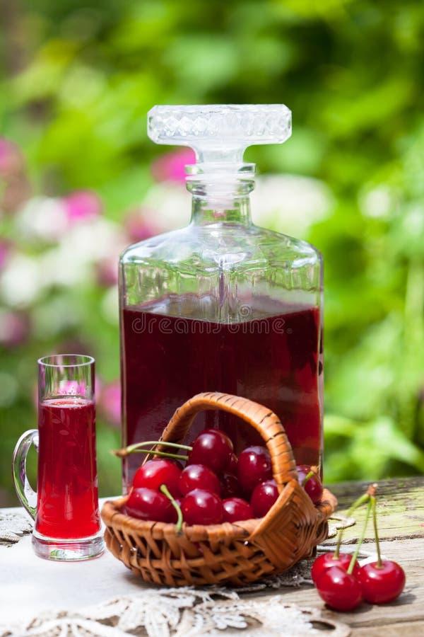 杯樱桃白兰地酒利口酒 免版税库存图片