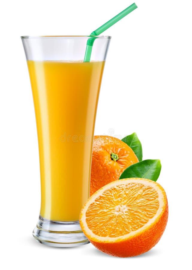 杯橙汁用在白色隔绝的果子 免版税库存照片
