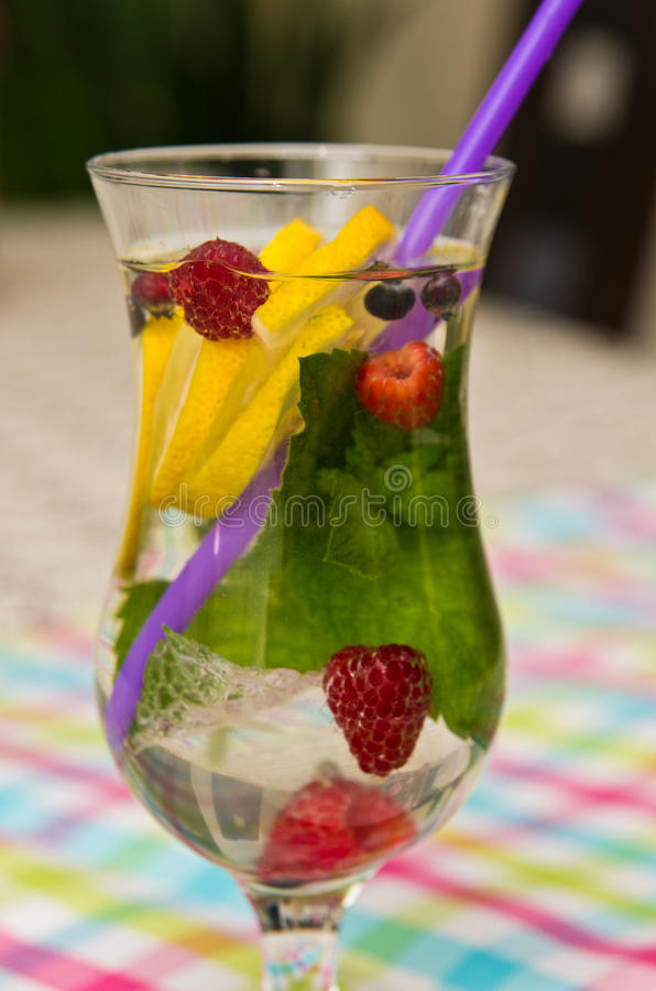 杯水用五颜六色的果子和秸杆 免版税库存照片