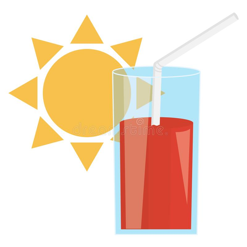 杯汁液果子和秸杆与太阳 库存例证