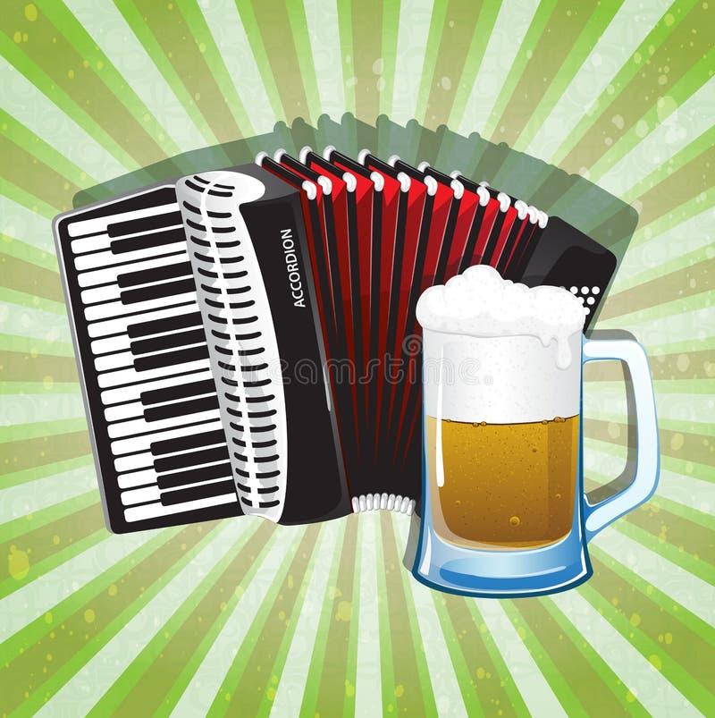 杯泡沫似的啤酒和手风琴 向量例证