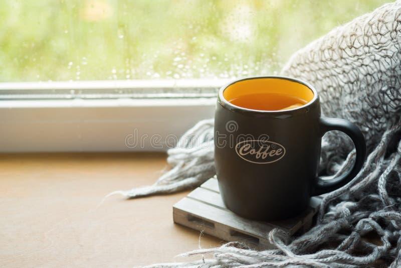 杯热的茶用在窗台羊毛格子花呢披肩的柠檬 r 下雨外面 r 免版税图库摄影