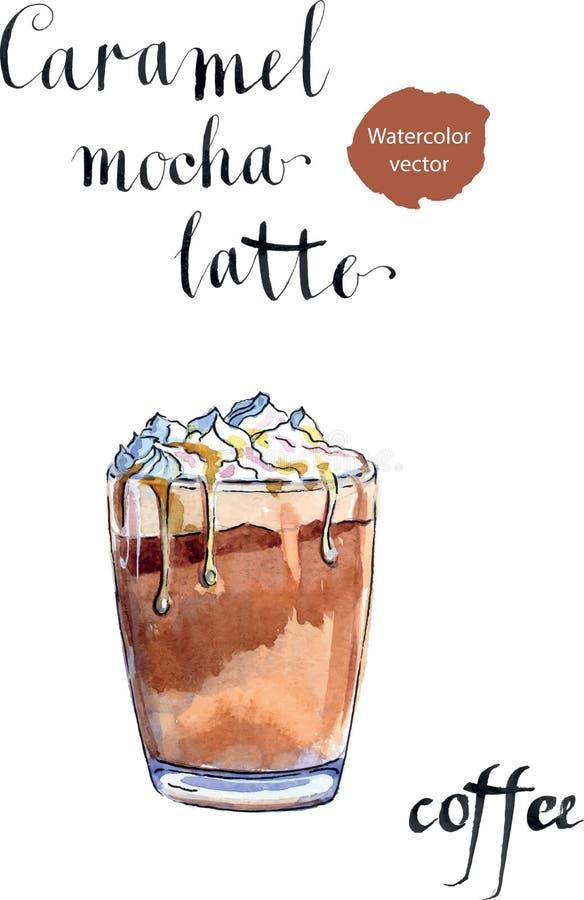 杯焦糖与打好的奶油的拿铁咖啡 皇族释放例证