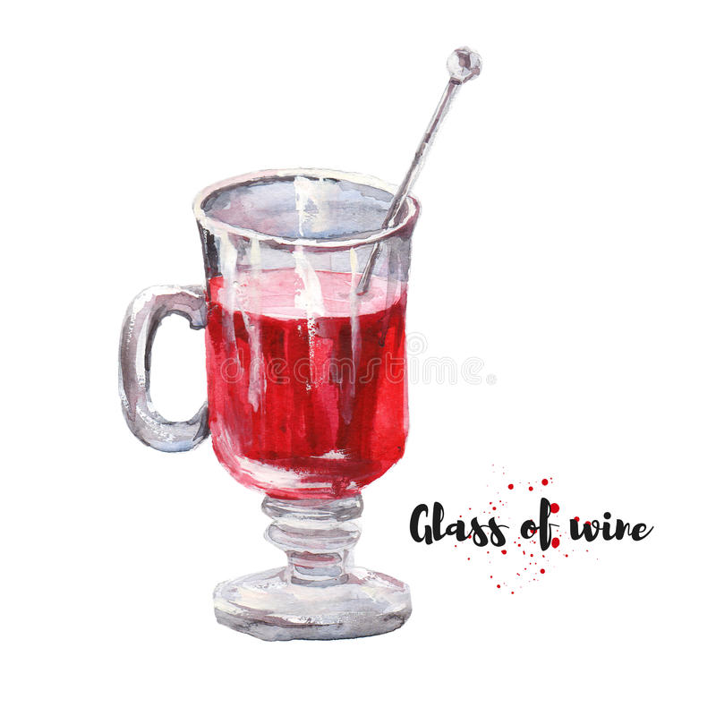 杯的水彩手拉的例证酒 光栅desi 免版税库存图片