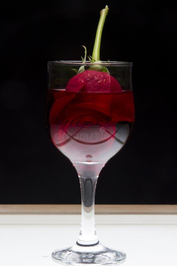 杯红葡萄酒与上升了 免版税库存照片