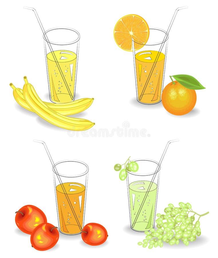 ?? 杯自然果汁香蕉,桔子,葡萄,苹果 导航例证,集合 皇族释放例证