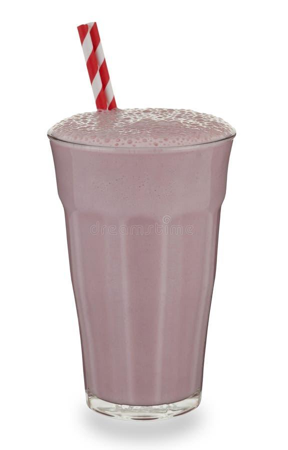 杯草莓奶昔和秸杆 免版税库存照片