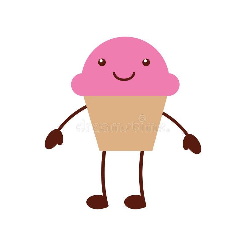 杯蛋糕甜kawaii字符 皇族释放例证