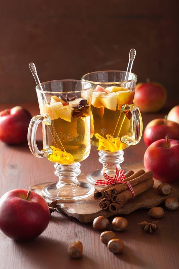 杯被仔细考虑的苹果汁用桔子和香料,冬天饮料 图库摄影