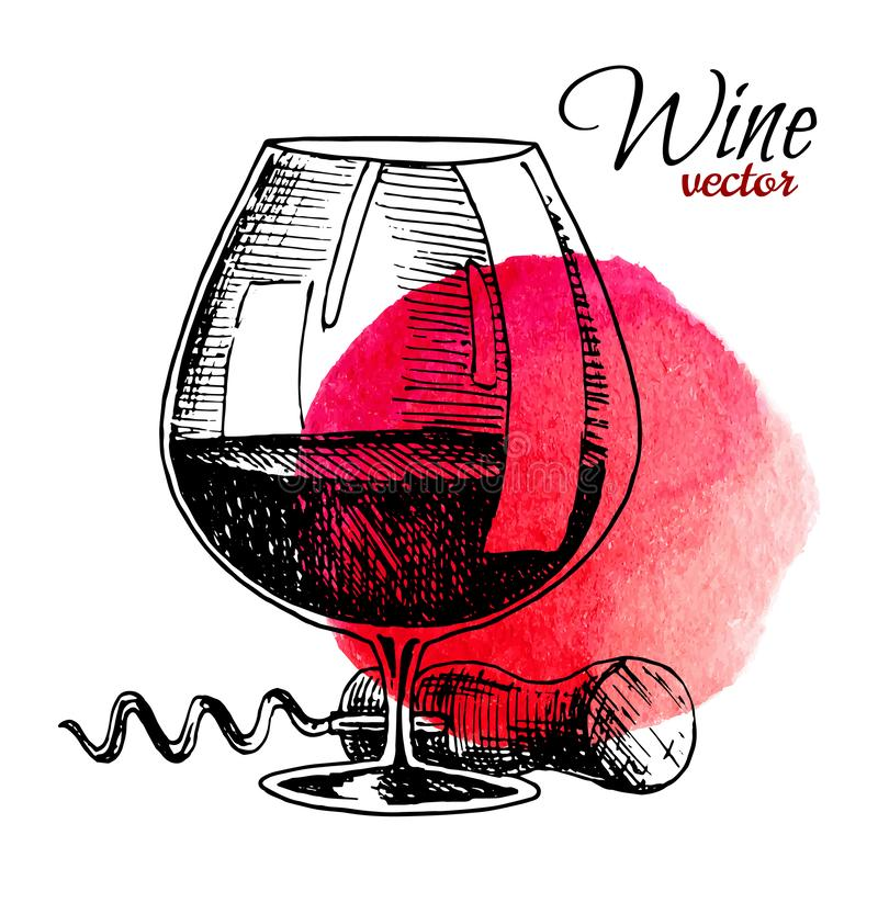 杯酒和拔塞螺旋 黑葡萄酒刻记了传染媒介例证隔绝有水彩背景 对标签 皇族释放例证