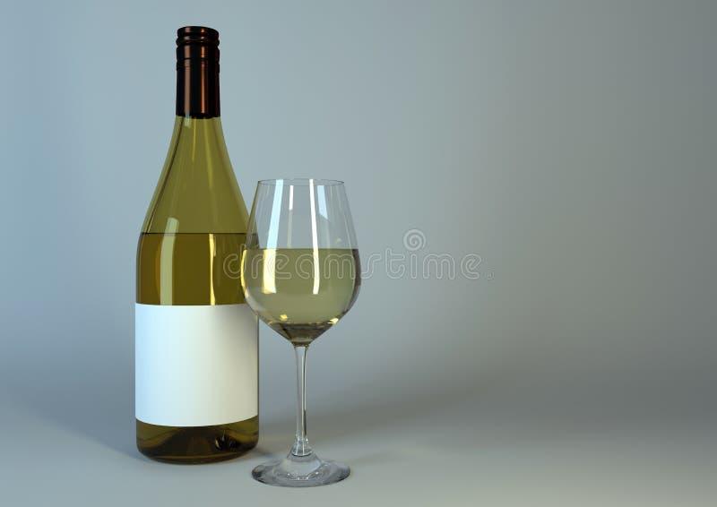 杯酒和酒瓶有空白的标签的 免版税库存图片