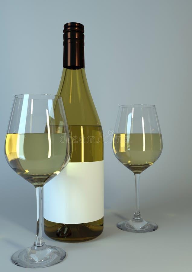 杯酒和酒瓶有空白的标签的 免版税库存照片