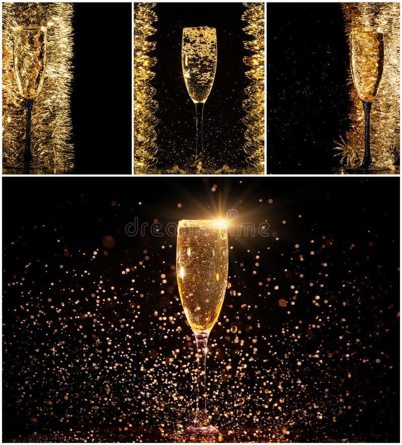 杯香槟拼贴画 库存图片