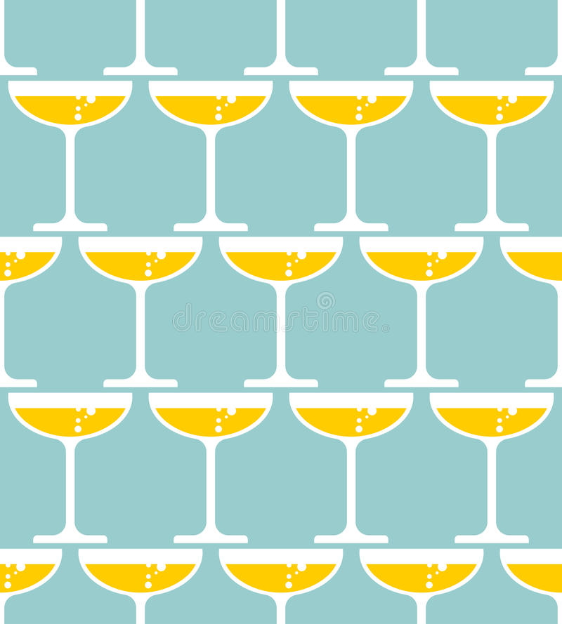 杯香槟无缝的样式 酒精在玻璃背景中 库存例证