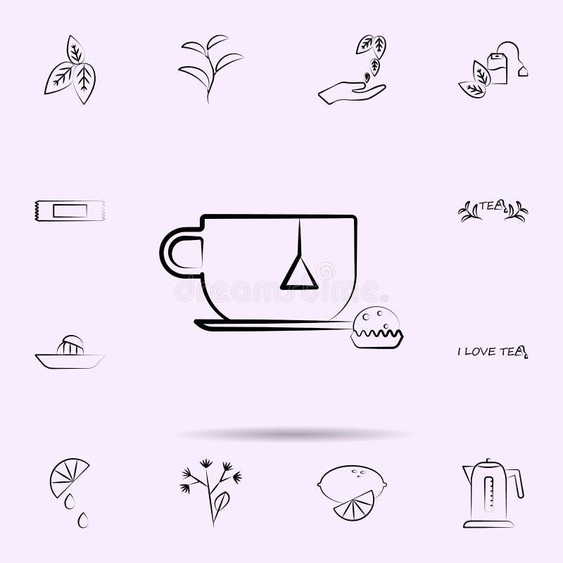 杯,茶包象 茶全集网站设计和发展的,应用程序发展 库存例证