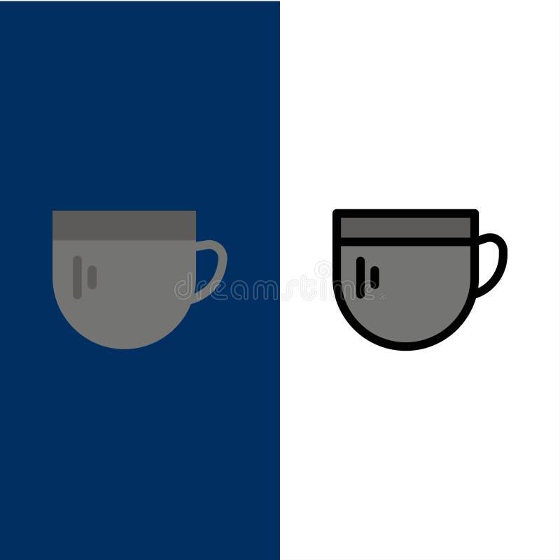 杯,茶,咖啡,基本的象 舱内甲板和线被填装的象设置了传染媒介蓝色背景 皇族释放例证