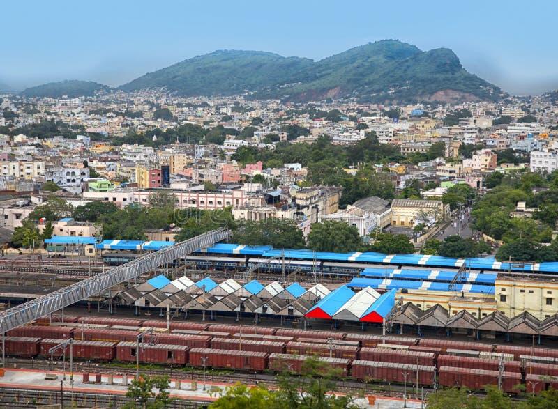 维杰亚瓦达市鸟瞰图在印度 库存图片