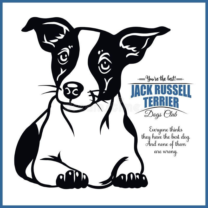 杰克罗素狗- T恤杉、商标和模板徽章的传染媒介例证 库存例证