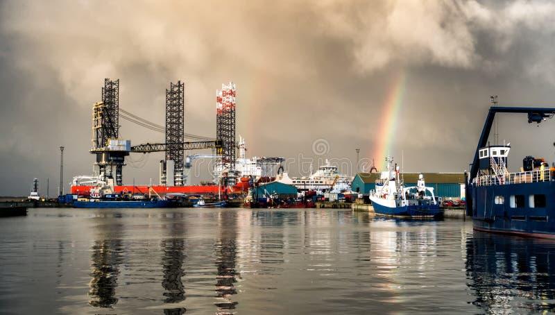 杰克船具在埃斯比约石油港口,丹麦 免版税库存图片