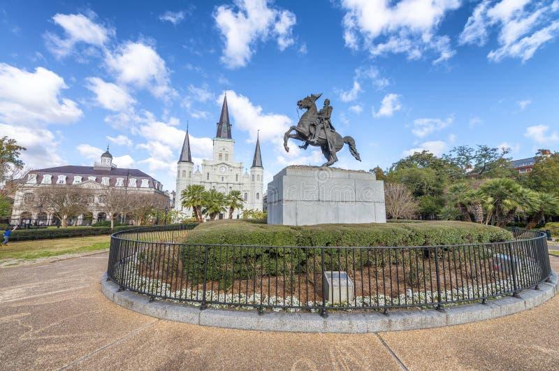 杰克逊广场美丽的景色在新奥尔良,路易斯安那 图库摄影
