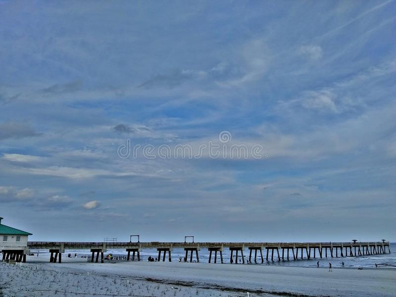 杰克逊维尔海滩,佛罗里达码头 免版税库存照片