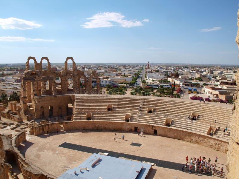 杰姆,马迪亚,突尼斯- 16 05 2012 El的Jem古老罗马圆形剧场在突尼斯 免版税库存图片