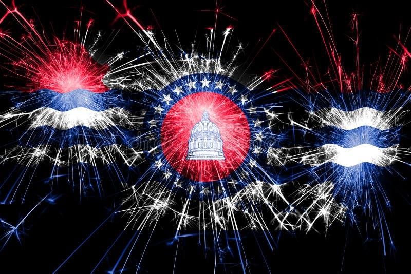 杰斐逊城,密苏里烟花闪耀的旗子 新年、圣诞节和国庆节概念 美国状态团结了 皇族释放例证