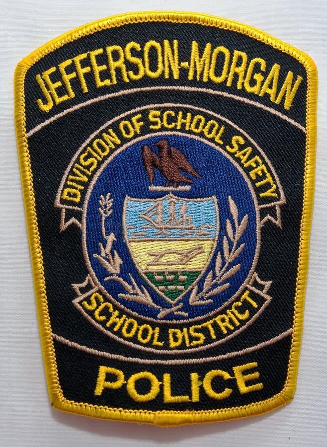 杰斐逊摩根学区警察局的肩章在宾夕法尼亚 免版税库存照片