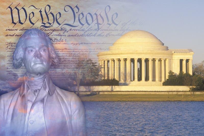 杰斐逊纪念品、美国托马斯・杰斐逊宪法和胸象的综合图象  免版税库存图片