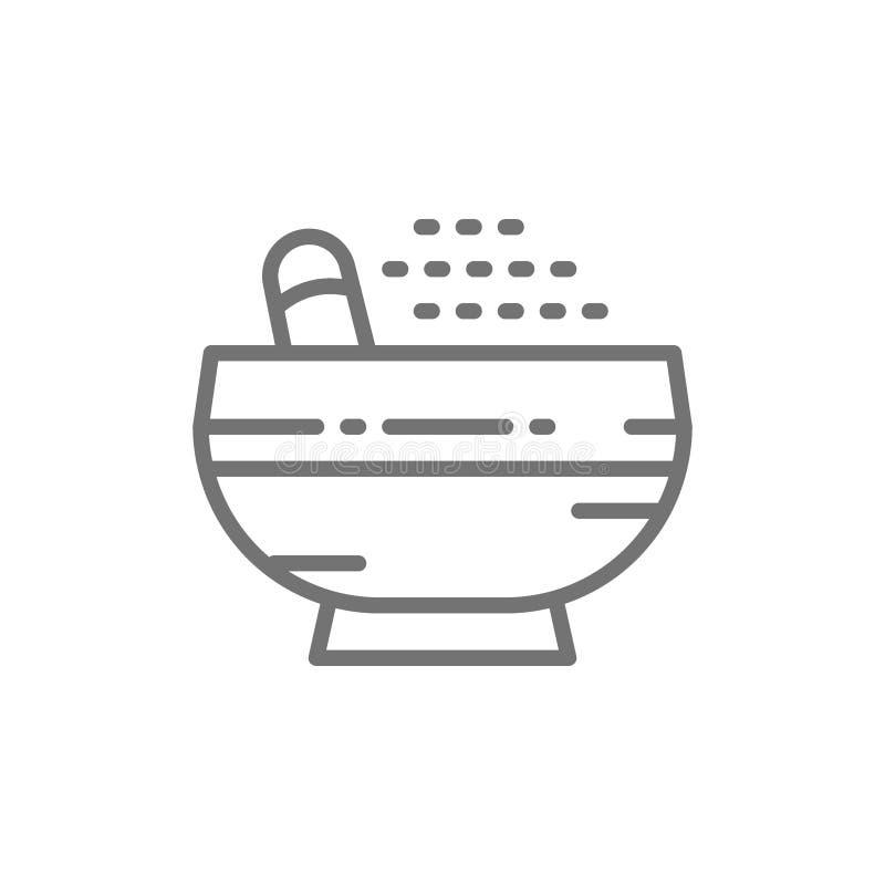 杵和灰浆,香料线象 向量例证