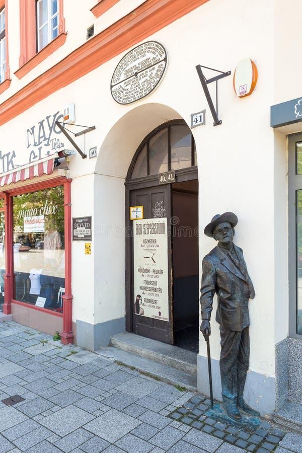 松博特海伊,匈牙利,詹姆斯・乔伊斯雕象 免版税库存照片